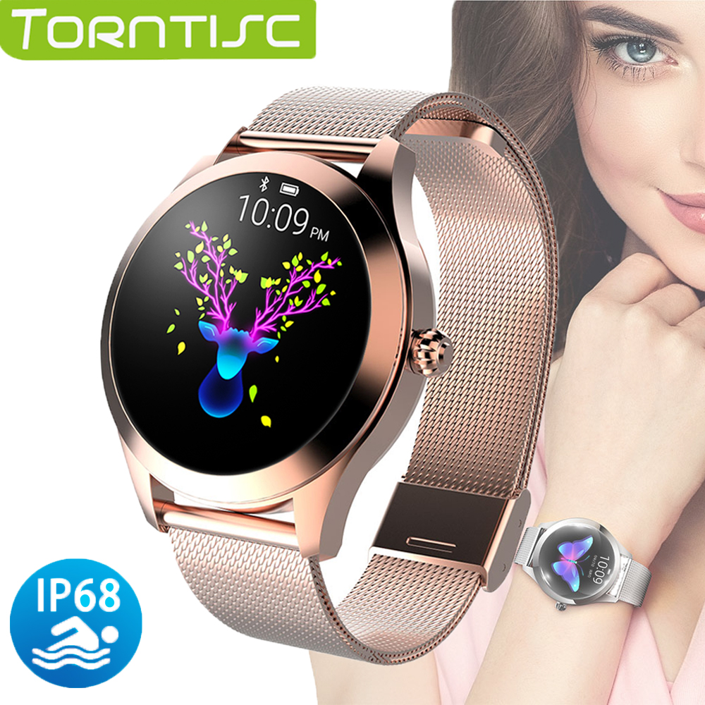 Torntisc KW10 Women Smart Watch IP68 Waterproof Heart Rate Monitor Physiological Reminder For Android IOS Phone Smartwatch Women|Smart Watches|   - AliExpress