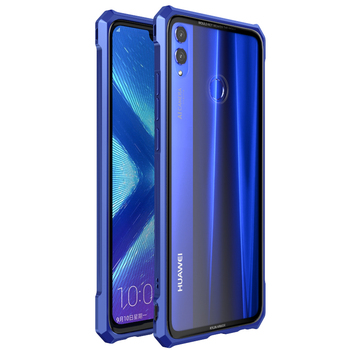 Luxury For Huawei Honor 8X/ 8X Max/Enjoy Max Case Aluminum Metal Frame Bumper and Transparent Tempered Glass Back Cover funda