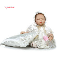 22 inch Lifelike and Realistic Sleeping Collectible Baby Dolls Girls Gift Doll Reborn Baby Dolls in Luxury Princess Dress