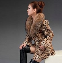 2016 Natural Rabbit fur jacket with raccoon fur collar for women real leopard Printed Color coat long sleeve genuine fur outwear