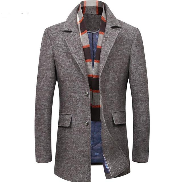 Man Coats Fashion Brand Clothes Trend Jacket Wool Coat Men Trench Single Breasted Peacoat Stand Collar