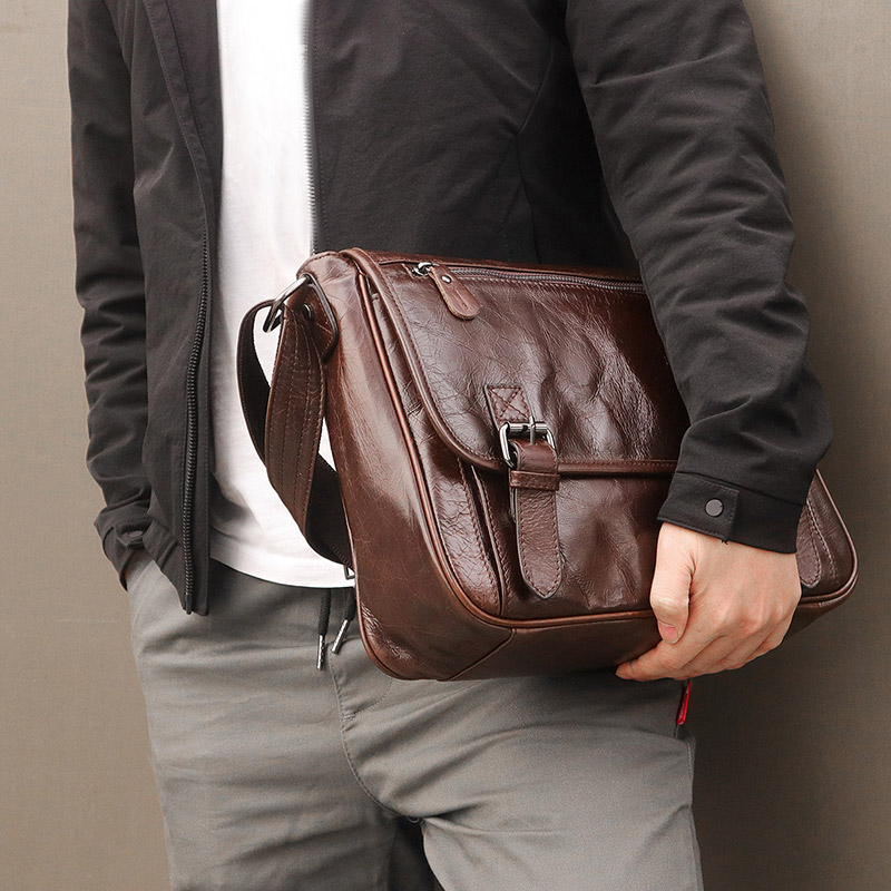 13 portátil maletín bolsos de hombro de cuero de vaca hombres marrón negocios viaje Vintage Casual moda cuero genuino bandolera - 5