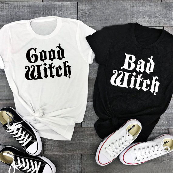 Funny Halloween Shirt Good Witch Bad Witch Couple T-Shirt Femme Casual Best  Friend Halloween Letter Printed Tops Slogan Crewneck ed94b6938