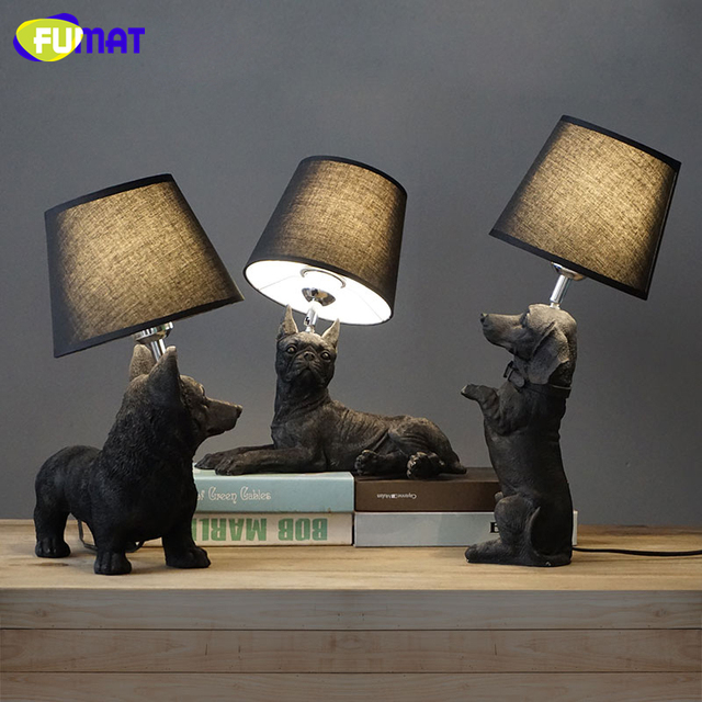 FUMAT Table Lamp Black White Puppy Desk Lamps Design Animals Table Light Vintage Art Deco Dogs Table Lamps for Livingroom