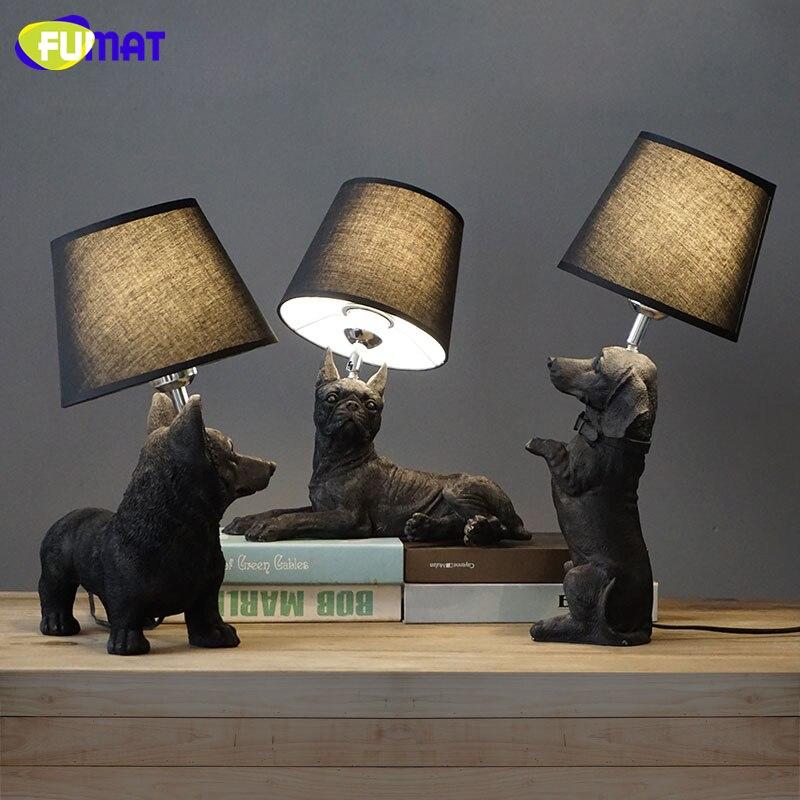 Fumat table lampe noir blanc chiot bureau lampes conception animaux tableau lumi re vintage art - Lampe chauffante chiot ...