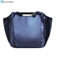 Doreen Box Large Capacity Foldable Trolley Supermarket Blue Shopping Bag Eco Friendly Reusable Folding Handle Bags