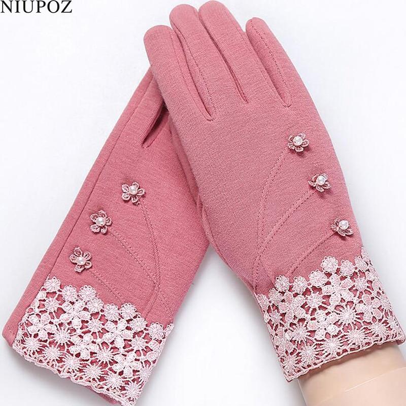 Модные элегантные женские Сенсорный экран Прихватки для мангала зимняя женская Кружево теплые кашемировые Бант Полная палец варежки наручные Guantes подарок 16d