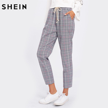 SHEIN Drawstring Detail Plaid Peg Pants Grey High Waist Trousers Elastic Waist Loose Cropped Womens Casual Pants(China)