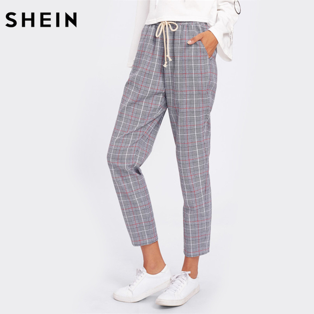 SHEIN Drawstring Detail Plaid Peg Pants Grey High Waist Trousers Elastic Waist Loose Cropped Womens Casual Pants