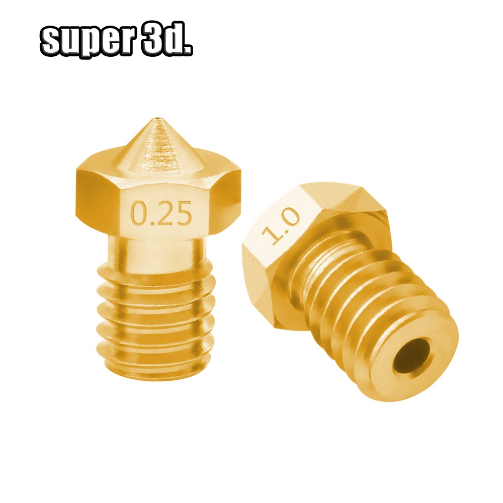 5pcs/lot V5 V6 Nozzle 0.2 /0.25/0.3/0.4/0.5/0.6/0.8/1.0 Part Copper 1.75mm Filament M6 Threaded Brass 3D Printers Parts
