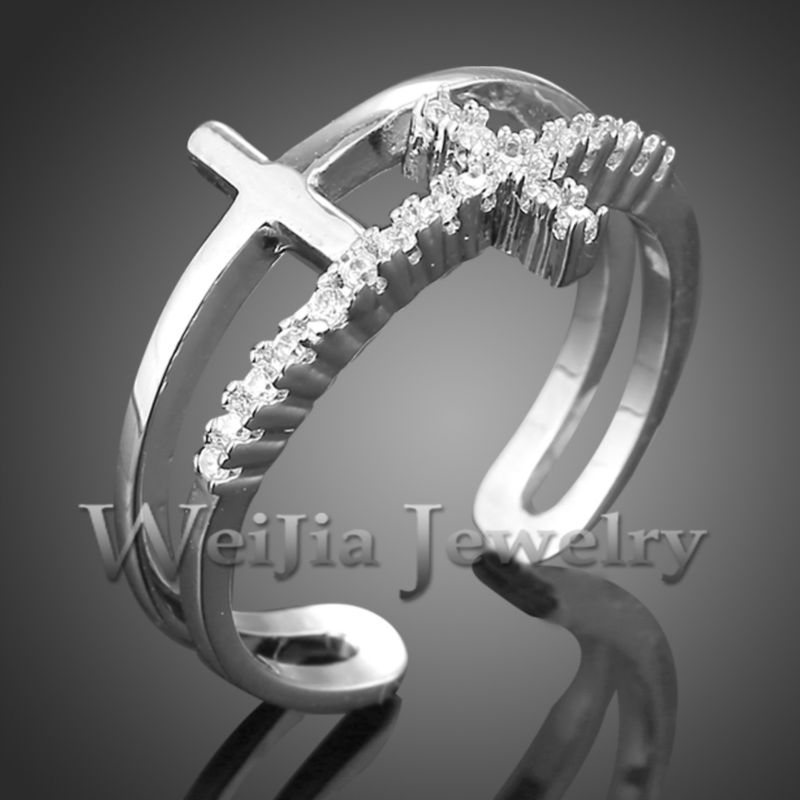 Real Color Fashion Exquisite Copper Ring With Cubic Zirconia Cross Cuff Finger Rings For Women J01898