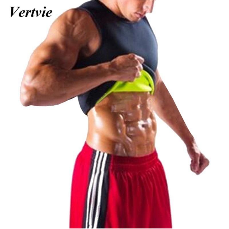Vertvie Mens Sauna Vest Sweat Hot Shapers Shirt Fit Black Running Shirt Men Shaper Tee Slimming Waist Trainer Corsets Shapewear