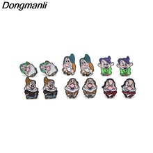 DMLSKY Snow White and the Seven Dwarfs Cartoons earrings for women kids Gifts Girls alloy stud Earrings jewelry M2489