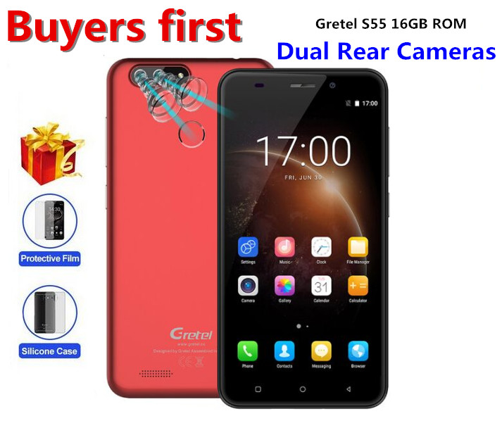 "Original Gretel S55 Android 7.0 5.5"" Mobile Phone Quad Core MT6580A 1GB RAM 16GB ROM 8MP Dual Cam Fingerprint 2600mAh Smartphone"