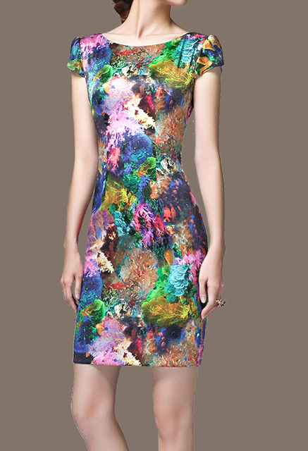 Graceful Puff Sleeve Colorful Printed Silk Dress