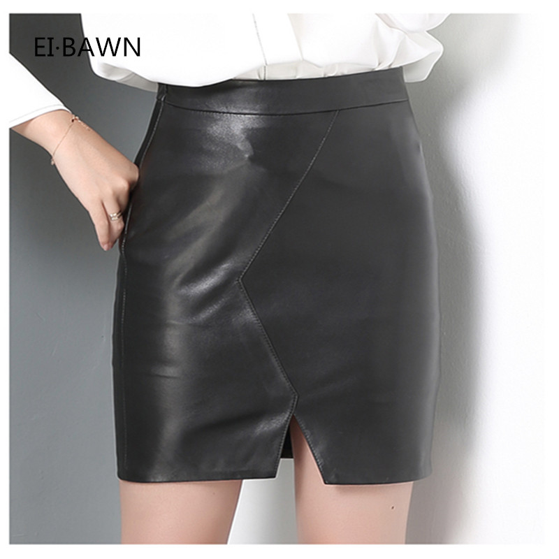 2018 Women Leather Skirt High Waist Pencil Black Leather Skirts Design Sheepskin Mini Tight Short Sexy Genuine Leather Skirt black sexy leather lace up side high waist split mini skirt