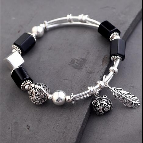 Handmade 925 Silver Onyx Beads Bracelet Sterling Beads Good Luck Bracelet Silver Beaded Bracelet карты игральные aviator покерный размер большой индекс цвет красный 55 шт