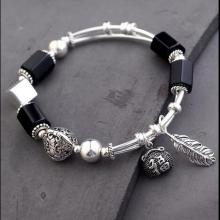 Handmade 925 Silver Onyx Beads Bracelet Sterling Beads Good Luck Bracelet Silver Beaded Bracelet handmade 999 silver dragon bracelet pure silver power dragon beads bracelet good luck bracelet