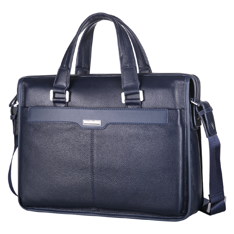 MARK SAXTON Brand Designer 100% Guarantee REAL Genuine Leather Bag 14 Laptop Bag Perfect Quality Blue Men Business Briefcase