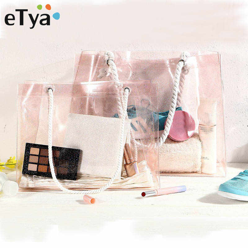 eTya Travel Handbag Women Daily Use Tote Female PVC Transparent Storage Shopping Bags Large Capacity Fashion Shoulder Beach Bag