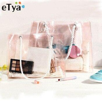 0d5d8058e ETya bolso las mujeres uso diario bolso Mujer Transparente de PVC de  almacenamiento de bolsas de compras de gran capacidad de hombro de moda de  playa bolsa