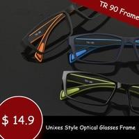 2c8374cb2 ... Óculos Quadros Mulheres Preto Flexível Esporte Elegantes Mens 17g. TR  90 Eyewear Sport Style Optical Glasses Frames Men And Women Black Eye  Glasses