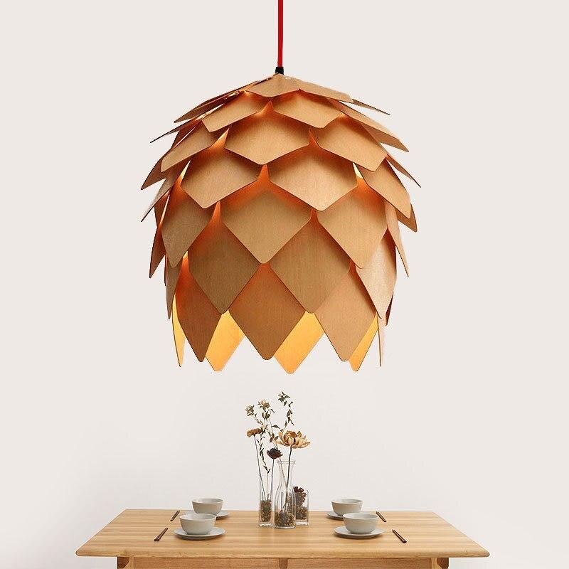 modern handmade diy wood pendant light pinecone hanging wood artichoke lamp home decorative light fixtures ac100