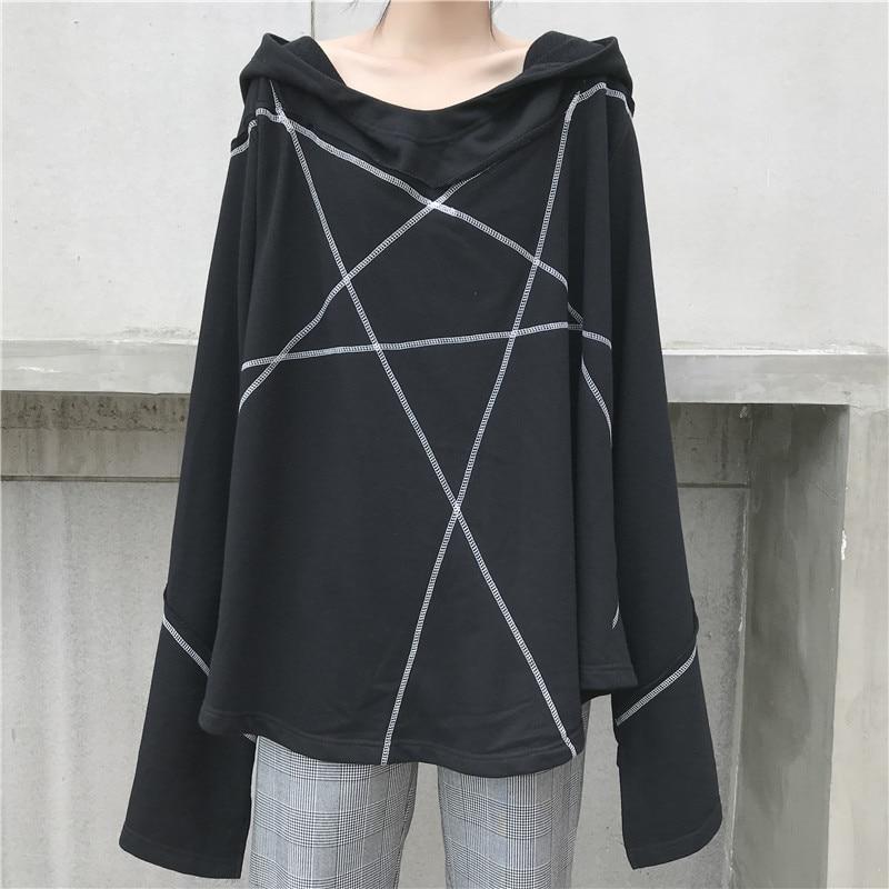 Korean Tide Black Line Collar Csaual Sweatshirt Full Spring Women Pullovers eam Hooded 2019 Fashion New gray Ob512 Sleeve Loose nxTHZPq