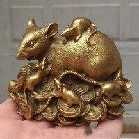 """Chiński miedź statua figurka szczur mysz 3.3 """"L w Posągi i rzeźby od Dom i ogród na"""