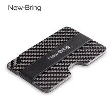 Futerał na karty z włókna węglowego Mini Slim wodoodporna karta kredytowa z pieniędzmi Cash Clip Case identyfikator firmy pokrywa uchwytu karty