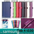 Wholesale case cover For samsung Galaxy tab 4 10.0 T530 LICHI Leather stand cover For Galaxy tab4 10.0 T530 Cover+screen protect