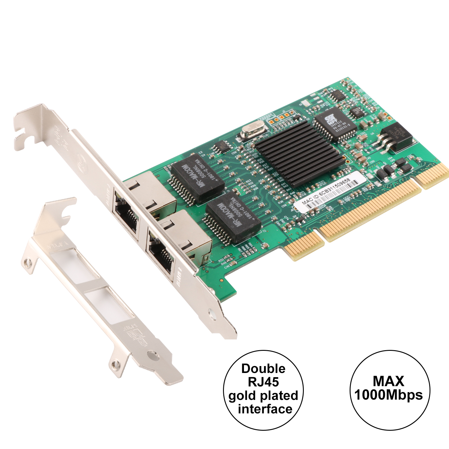 Ubit Intel 82546 PCI Gigabit for Ethernet Lan Network Card 10/100/1000Mbps Dual Port RJ45 Ethernet Adapter Converter