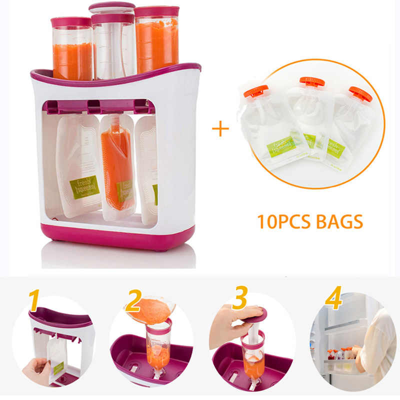 Newborn Baby Food Containers Storage Baby Feeding Maker Supplies Baby Food Fruit Juice Maker Easy Clean with 10 Pouches Bags