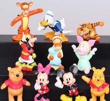 Cute Mickey Minnie Mouse Donald Duck Goofy Mini PVC Action Figures Model Toys 10 Pcs/Set
