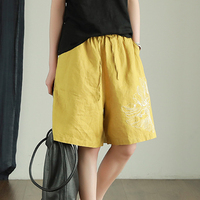 Women Cotton Linen Shorts for Ladies Embroidery Floral Big Loose Oversized Fashion Casual Vintage Hot Short for Summer 65026