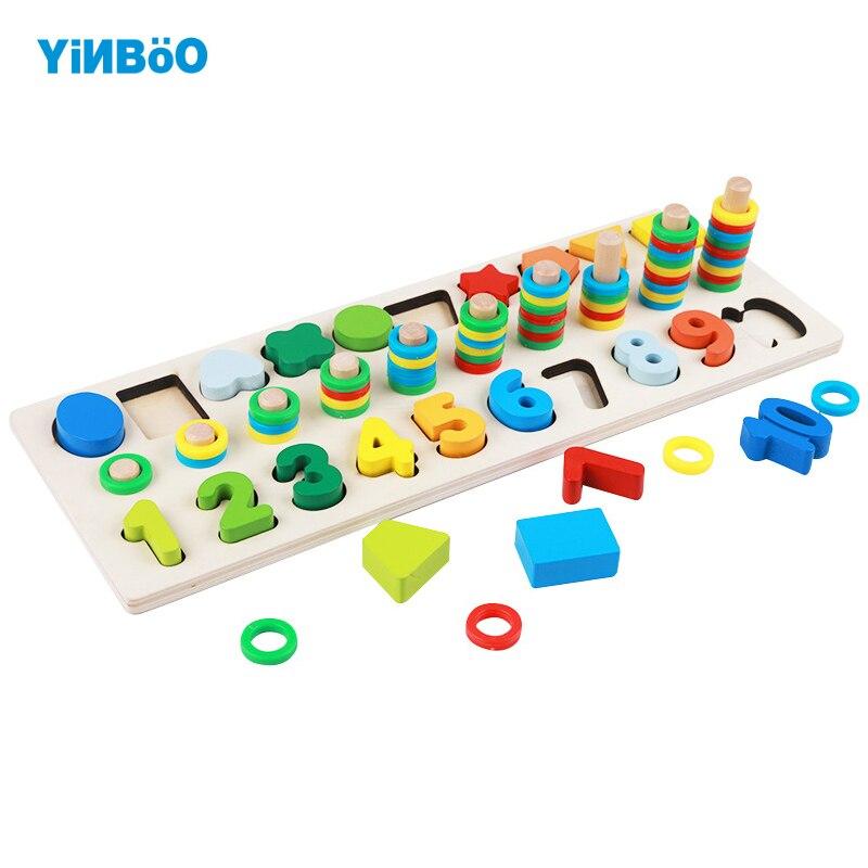Детские деревянные игрушки Цифровой Форма логарифмической доска плиты геометрический Форма Stack строительные блоки дошкольного раннего об...