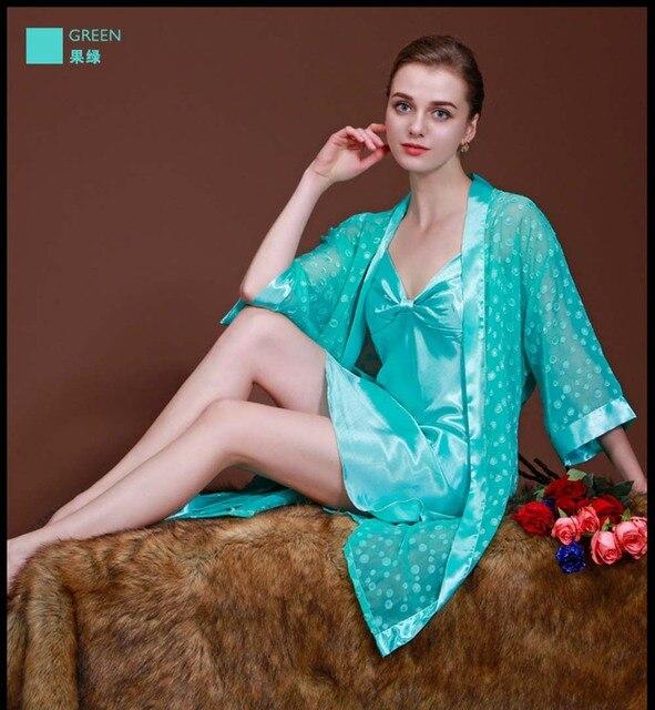 Роскошные Женщины Красный Синий Розовый Зеленый Пижамы Атласа Халат Халат Кимоно Пижамы Белье Robe & Платье Наборы