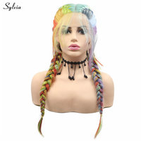 Sylvia Rainbow Wig 2x Twist Braids Wigs With Baby Hair Synthetic Lace Front Wig Mixed Color Braided Wigs For Women Natural Look