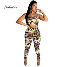 Echoine Women Jumpsuit Sexy Strapless Leopard Print Cross Bandage Lace Up Tight Catsuit Long Pencil Pants Rompers Female Clothes
