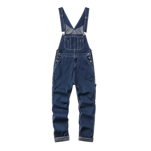 Image 3 - Sokotoo Mens plus size big pocket loose bib overalls Casual working coveralls Suspenders jumpsuits Light dark blue jeans