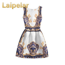 2018 Brand Women Clothing Summer Print Dress Vintage Sexy Party O Neck Slim Dresses Office Ladies Ball Gown Sleeveless Vestidos