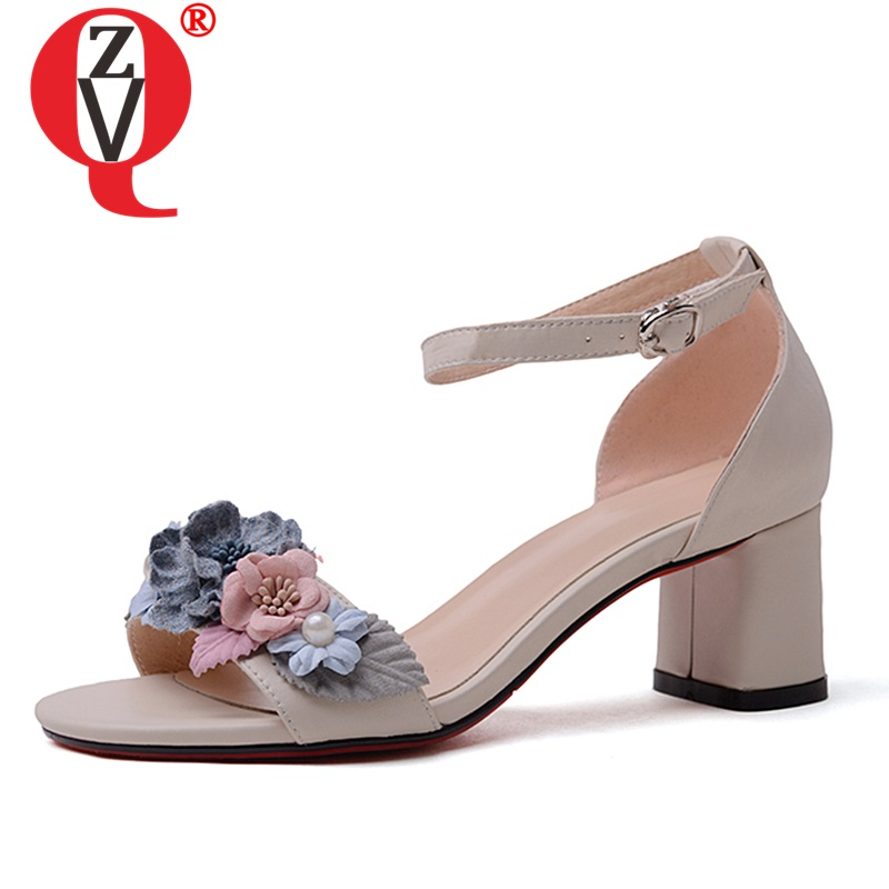 ZVQ 2019 newest woman summer new sweet dress party wedding genuine leather sandles ladies flower decoration