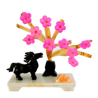 Fengshui natural Jade stone plum blossom Plant W horse for Sucess J2128