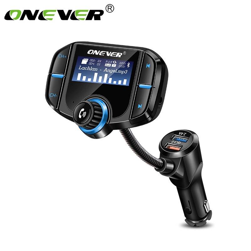 """ONEVER FM передатчик Bluetooth fm-модулятор 2 Порты и разъёмы Quick Charge 3.0 Зарядное устройство громкой связи car kit 1.65 """"MP3-плееры Поддержка Siri"""