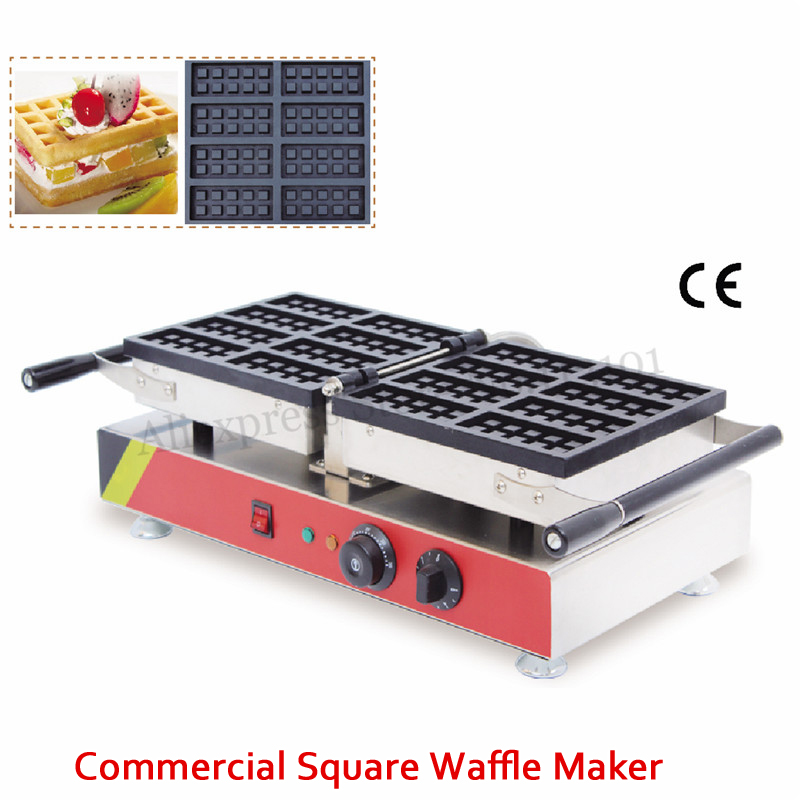 Electric Small Rectangle Belgian Waffle Baker Machine 8 Molds 1500W 220V 110V Food Street Snack Device 110v 220v electric belgian liege waffle baker maker machine iron page 8