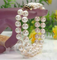 2015 NEW 2 ROW 10 11 MM NATURAL WHITE SOUTH SEA PEARL BRACELET 14K 7.5 8 INCH ^^^@^Noble style Natural Fine jewe SHIPPING 5.25