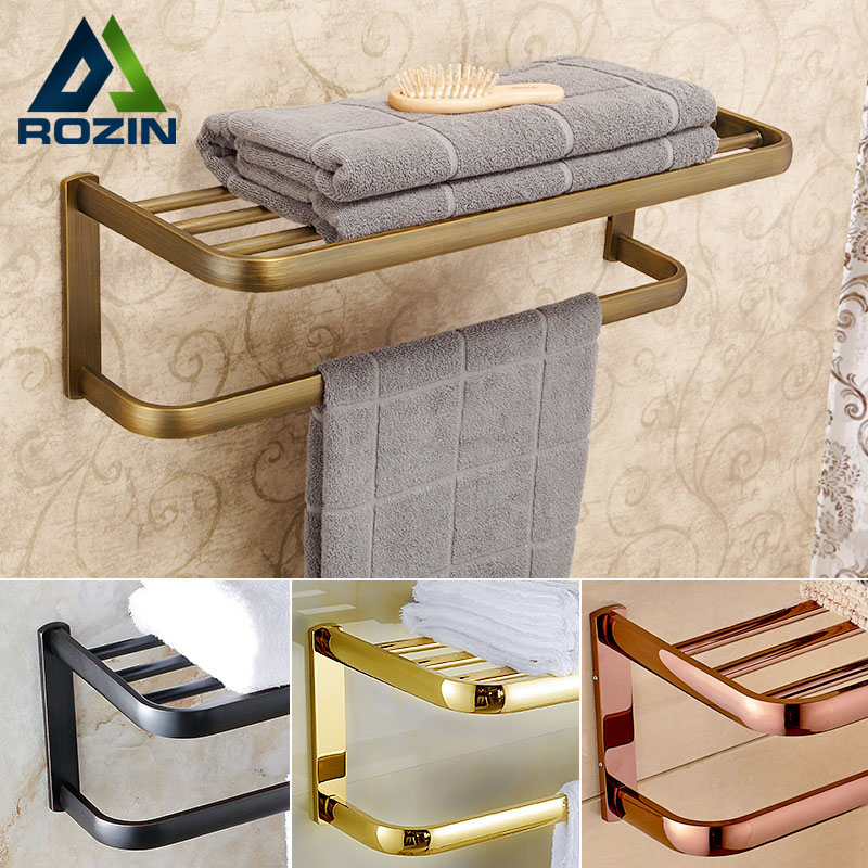 Luxury Wall Mount Bathroom Bath Towel Shelf Towel Bar Brass Good Quality Towel Rack 4-colors for Choice brix 0 90