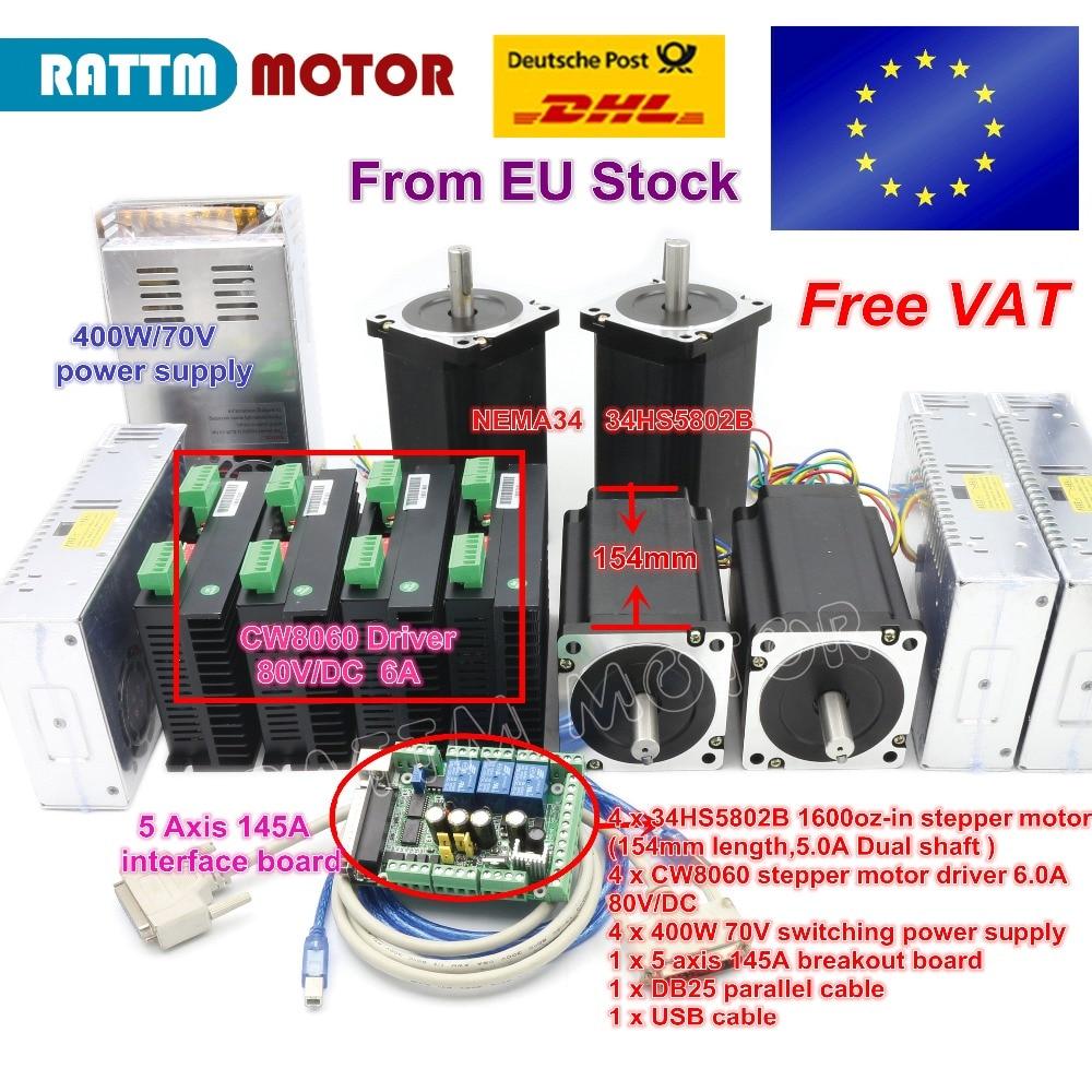 4 eixo NEMA34 1600oz-in Duplo eixo torque driver de motor de passo + CW8060 6A 80 V/DC Kit controlador CNC para o tamanho Grande Router Moinho