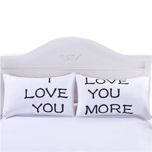 4 Styles Romantic Pillow Case Couple King Queen Pillowcase Cover Wedding Valentines Gift for Love