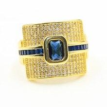 Rulalei Роскошные ювелирные изделия из стерлингового серебра 925 пробы и золота заполнение Принцесса Cut Синий 5A кубический цирконий вечерние женские обручальные кольца подарок